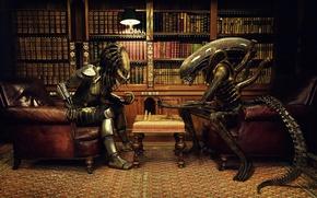 Обои шахматы, чужой, кабинет, против, партия, книжки, хищника, alien vs predator