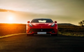 Обои ferrari, f12, berlinetta, red, sunset, front, supercar, south, africa