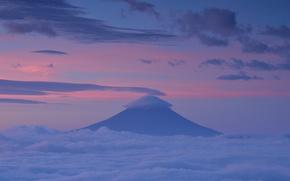 Обои небо, облака, закат, гора, вечер, вулкан, Япония, розовое, Фудзи, Хонсю, Фудзияма, сиреневое, префектура Сидзуока