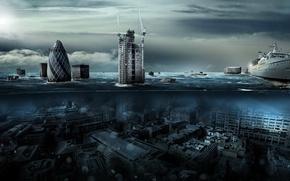 Обои вода, город, лондон, наводнение