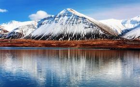 Картинка небо, вода, облака, отражения, гора, Исландия, Hafnarfjall