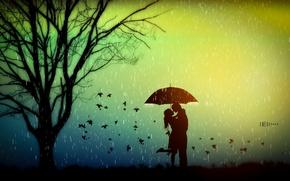 Обои романтика, влюбленные, любовь, дождь, листья, зонт, дерево, настроение, осень