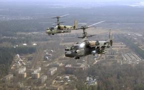 Обои вертолёт, ка-52, полёт, город, ввс