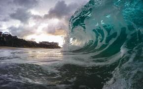 Картинка clouds, wave, Ocean