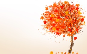 Картинка осень, листья, дерево, рисунок
