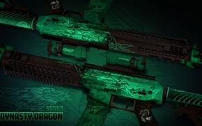 Картинка знак, дракон, иероглифы, символ, зелёный, раскрас, workshop, emerald, cs go, SG553, dynasty dragon