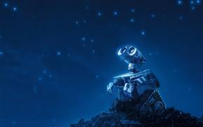 Обои звезды, синий, робот, Валли, WALLE
