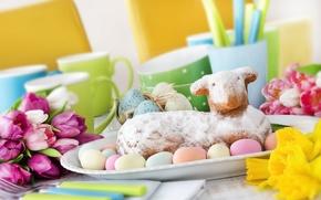 Картинка цветы, яйца, весна, Пасха, flowers, spring, кекс, Easter, eggs, decoration, Happy