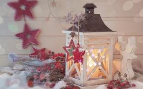 Картинка звезды, снег, lights, огни, вишня, свеча, фонарь, star, new year, snow, merry christmas, cherry, candle, …