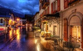 Картинка дорога, улица, здания, дома, Швейцария, кафе, Switzerland, столики, Zermatt, Церматт