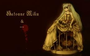 Картинка кровь, куклы, маска, перчатки, vocaloid, Hatsune Miku, Art, пятно, кринолин
