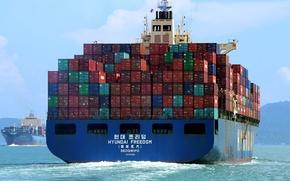 Картинка море, контейнеровоз, судно