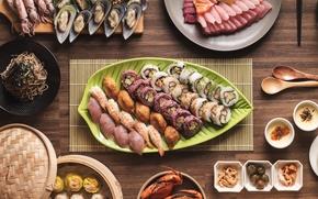 Обои блюда, кальмары, ассорти, креветки, роллы, морепродукты, рыба, суши