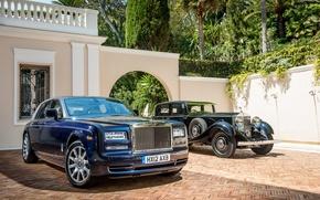 Картинка авто, синий, ретро, черный, Phantom, Rolls Royce, 2012