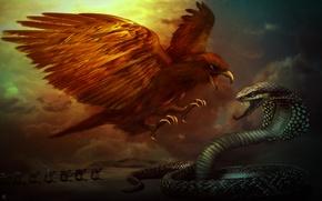 Картинка орел, пустыня, змея, битва, караван
