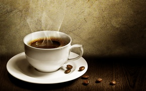 Обои кофе, чашка, зёрна