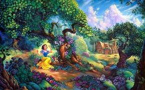 Картинка цветы, домик, forest, cartoon, painting, Walt Disney, Snow Whites Magical Forest, Snow Whites, Tom duBois