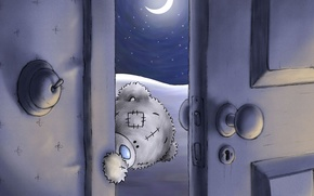 Обои луна, тедди, дверь, ночь, мишка