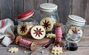 Картинка снежинки, еда, печенье, сладости, банки, нитки, джем, варенье, новогоднее