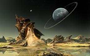Обои вода, звезды, озеро, скалы, ландшафт, планета, кольца, арт