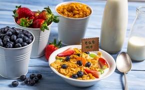 Обои blueberry, strawberry, milk, молоко, черника, хлопья, ягоды, завтрак, breakfast, клубника