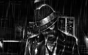 Картинка дождь, рисунок, черно-белая, сигарета