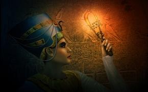 Картинка девушка, украшения, арт, полумрак, египет, египтянка, царица, Нефертити, систрум