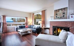 Картинка диван, интерьер, окно, камин, особняк, Design, гостиная, Interior, Living