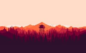 Картинка птицы, the long dark, горы, вышка, лес, закат