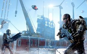 Картинка battlefield, gun, pistol, Call of Duty, robot, soldier, sky, weapon, war, snow, man, yuki, DLC, …