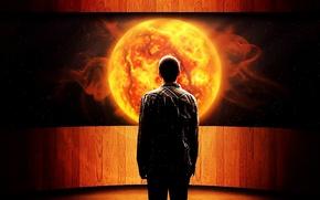 Картинка солнце, космос, свет, Человек