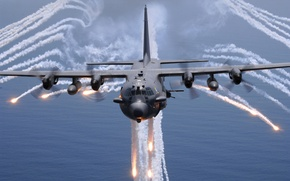 Обои море, самолет, Lockheed AC-130H Spectre, огонь