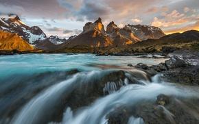 Картинка река, утро, Чили, Южная Америка, Патагония, горы Анды, национальный парк Торрес-дель-Пайне