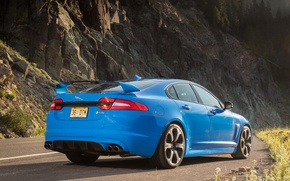 Картинка дорога, зад, jaguar, blue, xfr-s