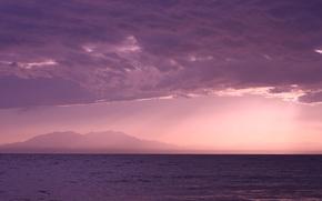 Картинка море, волны, пляж, небо, вода, облака, лучи, пейзаж, закат, горы, природа, спокойствие, красиво, зарево, греция