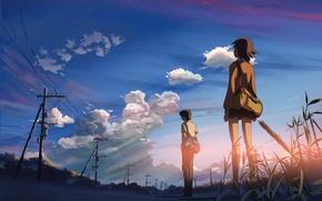 Картинка небо, закат, отношения, 5 сантиметров в секунду, Макото Синкай