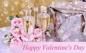 Картинка цветы, розы, шампанское, День Святого Валентина, фужеры, ведёрко