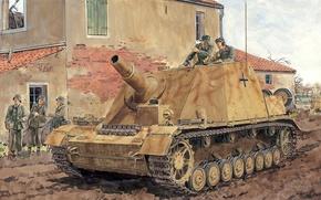 Картинка дорога, оружие, рисунок, солдаты, установка, самоходно-артиллерийская, немецкая, Вторая мировая войныа, Sturmpanzer IV «Brummbär», «Медведь-ворчун», класса …