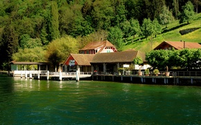 Картинка деревья, озеро, берег, Швейцария, причал, склон, домики, Люцерн, Lake Lucerne, Бургеншток, Bürgenstock