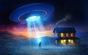 Картинка дом, человек, НЛО, UFO, flying saucer, abduction