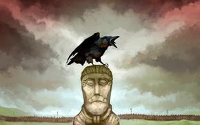 Обои скандинавы, JonHodgson, война, войско, рисунок, ворон, один, идол