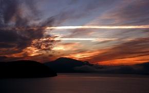 Картинка море, небо, пейзаж, горы, природа, вечер, nature, water, mountains, landscapes, evening