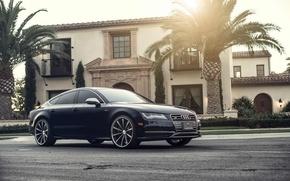 Обои Audi, Солнце, Ауди, Красиво, Car, Автомобиль, Beautiful, Wallpapers, Tuning, Обоя, Передок, Vossen