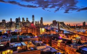 Картинка Бруклинский мост, Манхэттен, OWTC, Нью-Йорк, огни, One World Trade Center, Соединенные Штаты, сумерки, небо, облака, …