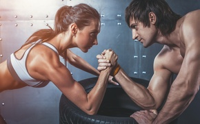 Картинка woman, man, concentration, arm wrestling, physical state