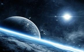 Картинка космос, планета, свечение, атмосфера, space