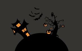 Картинка ночь, дерево, Дом, тыквы, Halloween, летучие мыши, хелоуин