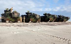 Картинка песок, следы, боевые, американские, морские пехотинцы, штурмовые, амфибии AAV7A1