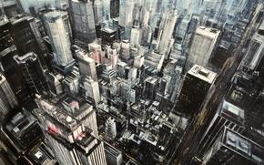 Картинка небоскребы, улицы, абстрактный реализм, Emilio Valerio D'Ospina