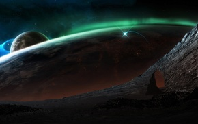 Картинка космос, поверхность, сияние, планета
